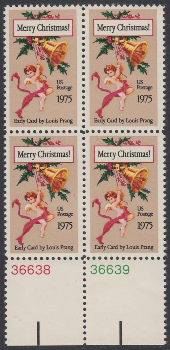 USA Michel 1189 / Scott 1580 postfrisch BLOCK RÄNDER unten m/ Platten-# 36638 - Weihnachten 0
