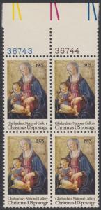 USA Michel 1190 / Scott 1579 postfrisch BLOCK RAND oben m/ Platten-# 36743 - Weihnachten; Madonna mit Kind