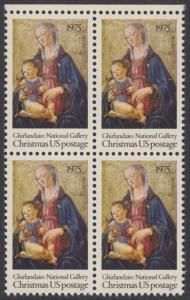 USA Michel 1190 / Scott 1579 postfrisch BLOCK RAND oben - Weihnachten; Madonna mit Kind