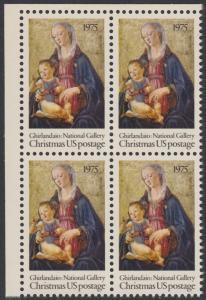USA Michel 1190 / Scott 1579 postfrisch BLOCK ECKRAND oben links - Weihnachten; Madonna mit Kind