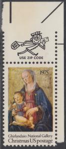 USA Michel 1190 / Scott 1579 postfrisch EINZELMARKE ECKRAND oben rechts m/ ZIP-Emblem - Weihnachten; Madonna mit Kind
