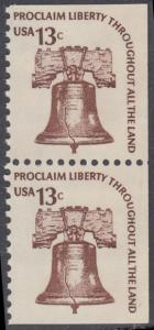 USA Michel 1191D / Scott 1595 postfrisch vert.PAAR (oben/rechts/unten ungezähnt) - Americana-Ausgabe: Freiheitsglocke