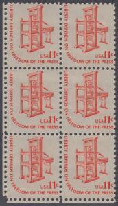 USA Michel 1192 / Scott 1593 postfrisch vert.BLOCK(6) ECKRAND unten links - Americana-Ausgabe: Druckpresse