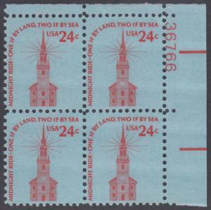 USA Michel 1193 / Scott 1603 postfrisch PLATEBLOCK ECKRAND oben rechts m/ Platten-# 36766 - Americana-Ausgabe: Alte Nordkirche, Boston