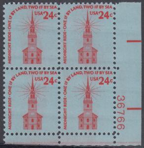 USA Michel 1193 / Scott 1603 postfrisch PLATEBLOCK ECKRAND unten rechts m/ Platten-# 36766 - Americana-Ausgabe: Alte Nordkirche, Boston