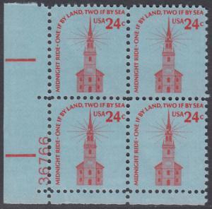 USA Michel 1193 / Scott 1603 postfrisch PLATEBLOCK ECKRAND unten links m/ Platten-# 36766 - Americana-Ausgabe: Alte Nordkirche, Boston