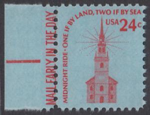 USA Michel 1193 / Scott 1603 postfrisch EINZELMARKE RAND links m/ Mail Early-Vermerk - Americana-Ausgabe: Alte Nordkirche, Boston