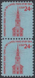 USA Michel 1193 / Scott 1603 postfrisch vert,PAAR - Americana-Ausgabe: Alte Nordkirche, Boston
