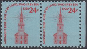USA Michel 1193 / Scott 1603 postfrisch horiz.PAAR RAND rechts - Americana-Ausgabe: Alte Nordkirche, Boston