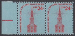 USA Michel 1193 / Scott 1603 postfrisch horiz.PAAR RAND links - Americana-Ausgabe: Alte Nordkirche, Boston