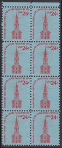 USA Michel 1193 / Scott 1603 postfrisch vert.BLOCK(8) RÄNDER oben - Americana-Ausgabe: Alte Nordkirche, Boston