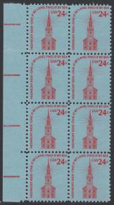 USA Michel 1193 / Scott 1603 postfrisch vert.BLOCK(8) RÄNDER links - Americana-Ausgabe: Alte Nordkirche, Boston