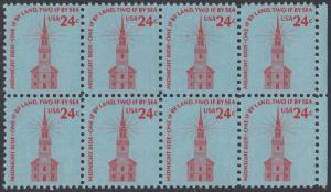 USA Michel 1193 / Scott 1603 postfrisch horiz.BLOCK(8) RÄNDER rechts - Americana-Ausgabe: Alte Nordkirche, Boston
