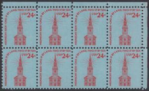 USA Michel 1193 / Scott 1603 postfrisch horiz.BLOCK(8) ECKRAND oben rechts - Americana-Ausgabe: Alte Nordkirche, Boston