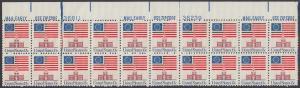 USA Michel 1194 / Scott 1622 postfrisch horiz.PLATEBLOCK(20) Ränder oben - Altes Sternenbanner und Unabhängigkeitshalle, Philadelphia