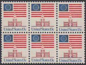 USA Michel 1194 / Scott 1622 postfrisch horiz.BLOCK(6) - Altes Sternenbanner und Unabhängigkeitshalle, Philadelphia