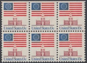 USA Michel 1194 / Scott 1622 postfrisch horiz.BLOCK(6 / oben ungezähnt) - Altes Sternenbanner und Unabhängigkeitshalle, Philadelphia