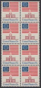 USA Michel 1194 / Scott 1622 postfrisch vert.BLOCK(8 / oben ungezähnt) - Altes Sternenbanner und Unabhängigkeitshalle, Philadelphia