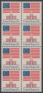 USA Michel 1194 / Scott 1622 postfrisch vert.BLOCK(8) - Altes Sternenbanner und Unabhängigkeitshalle, Philadelphia