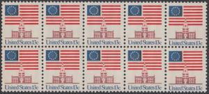 USA Michel 1194 / Scott 1622 postfrisch horiz.BLOCK(10) - Altes Sternenbanner und Unabhängigkeitshalle, Philadelphia
