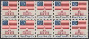 USA Michel 1194 / Scott 1622 postfrisch horiz.BLOCK(10 / oben ungezähnt) - Altes Sternenbanner und Unabhängigkeitshalle, Philadelphia