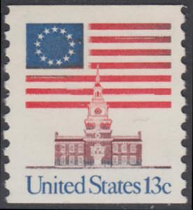 USA Michel 1194C / Scott 1625 postfrisch EINZELMARKE (coil) - Altes Sternenbanner und Unabhängigkeitshalle, Philadelphia