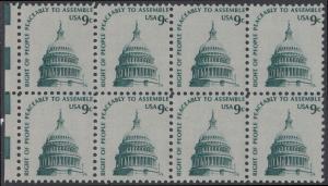 USA Michel 1195 / Scott 1591 postfrisch horiz.BLOCK(8) RÄNDER links - Americana-Ausgabe: Kuppel des Kongressgebäudes in Washington, DC