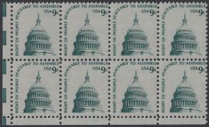 USA Michel 1195 / Scott 1591 postfrisch horiz.BLOCK(8) ECKRAND unten links - Americana-Ausgabe: Kuppel des Kongressgebäudes in Washington, DC
