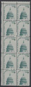 USA Michel 1195 / Scott 1591 postfrisch vert.BLOCK(10) ECKRAND oben links - Americana-Ausgabe: Kuppel des Kongressgebäudes in Washington, DC