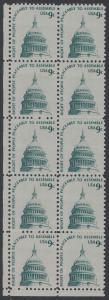 USA Michel 1195 / Scott 1591 postfrisch vert.BLOCK(10) ECKRAND unten links - Americana-Ausgabe: Kuppel des Kongressgebäudes in Washington, DC