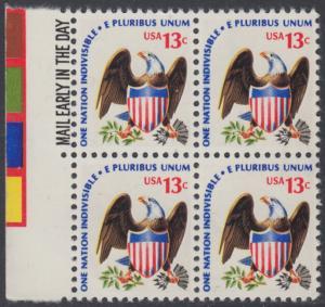 USA Michel 1196 / Scott 1596 postfrisch BLOCK RÄNDER links m/ Mail Early-Vermerk - Americana-Ausgabe: Adler mit Wappenschild