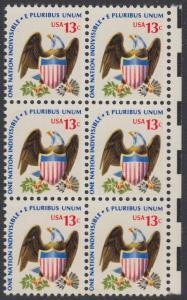 USA Michel 1196 / Scott 1596 postfrisch vert.BLOCK(6) RÄNDER rechts - Americana-Ausgabe: Adler mit Wappenschild