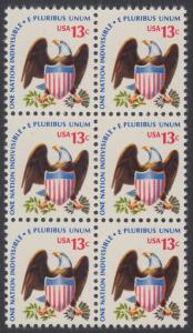 USA Michel 1196 / Scott 1596 postfrisch vert.BLOCK(6) - Americana-Ausgabe: Adler mit Wappenschild