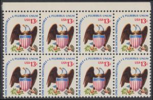 USA Michel 1196 / Scott 1596 postfrisch horiz.BLOCK(8) RÄNDER oben - Americana-Ausgabe: Adler mit Wappenschild
