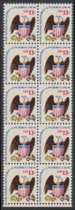 USA Michel 1196 / Scott 1596 postfrisch vert.BLOCK(10) RÄNDER unten - Americana-Ausgabe: Adler mit Wappenschild
