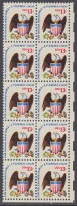 USA Michel 1196 / Scott 1596 postfrisch vert.BLOCK(10) ECKRAND unten rechts - Americana-Ausgabe: Adler mit Wappenschild