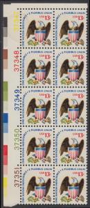 USA Michel 1196 / Scott 1596 postfrisch vert.BLOCK(10) ECKRAND oben links m/ Platten-# 37347 - Americana-Ausgabe: Adler mit Wappenschild