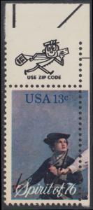 USA Michel 1197 / Scott 1629 postfrisch EINZELMARKE ECKRAND oben rechts m/ ZIP-Emblem - Unabhängigkeit der Vereinigten Staaten von Amerika: Erinnerung an 1776, Pfeifer- und Trommler der Revolutionskriege