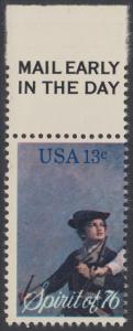 USA Michel 1197 / Scott 1629 postfrisch EINZELMARKE RAND oben m/ Mail Early-Vermerk - Unabhängigkeit der Vereinigten Staaten von Amerika: Erinnerung an 1776, Pfeifer- und Trommler der Revolutionskriege