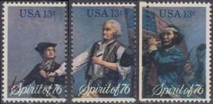 USA Michel 1197-1199 / Scott 1629-1631 postfrisch SATZ(3) EINZELMARKEN - Unabhängigkeit der Vereinigten Staaten von Amerika: Erinnerung an 1776, Pfeifer- und Trommler der Revolutionskriege