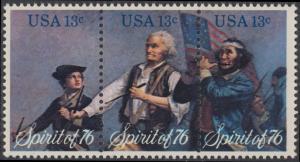 USA Michel 1197-1199 / Scott 1629-1631 postfrisch BLOCK(3) - Unabhängigkeit der Vereinigten Staaten von Amerika: Erinnerung an 1776, Pfeifer- und Trommler der Revolutionskriege