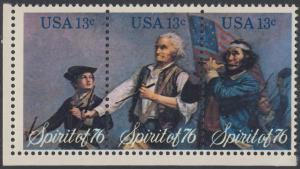 USA Michel 1197-1199 / Scott 1629-1631 postfrisch BLOCK(3) ECKRAND unten links - Unabhängigkeit der Vereinigten Staaten von Amerika: Erinnerung an 1776, Pfeifer- und Trommler der Revolutionskriege