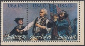 USA Michel 1197-1199 / Scott 1629-1631 postfrisch BLOCK(3) ECKRAND unten rechts - Unabhängigkeit der Vereinigten Staaten von Amerika: Erinnerung an 1776, Pfeifer- und Trommler der Revolutionskriege