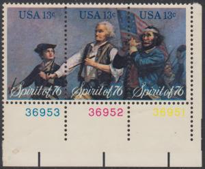 USA Michel 1197-1199 / Scott 1629-1631 postfrisch BLOCK(3) ECKRAND unten rechts m/ Platten-# - Unabhängigkeit der Vereinigten Staaten von Amerika: Erinnerung an 1776, Pfeifer- und Trommler der Revolutionskriege