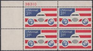 USA Michel 1201 / Scott C090 postfrisch Luftpost-PLATEBLOCK ECKRAND oben links m/ Platten-# 36977 - Flugzeug mit Erdhalbkugeln