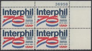 """USA Michel 1202 / Scott 1632 postfrisch PLATEBLOCK ECKRAND oben rechts m/ Platten-# 36958 - Internationale Briefmarkenausstellung """"Interphil"""", Philadelphia"""