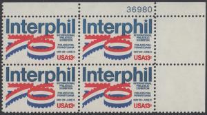 """USA Michel 1202 / Scott 1632 postfrisch PLATEBLOCK ECKRAND oben rechts m/ Platten-# 36980 - Internationale Briefmarkenausstellung """"Interphil"""", Philadelphia"""