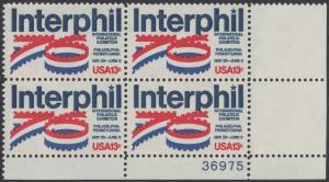 """USA Michel 1202 / Scott 1632 postfrisch PLATEBLOCK ECKRAND unten rechts m/ Platten-# 36975 - Internationale Briefmarkenausstellung """"Interphil"""", Philadelphia"""