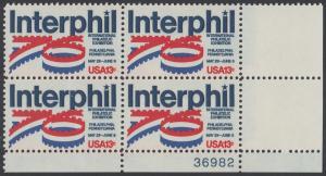 """USA Michel 1202 / Scott 1632 postfrisch PLATEBLOCK ECKRAND unten rechts m/ Platten-# 36982 - Internationale Briefmarkenausstellung """"Interphil"""", Philadelphia"""