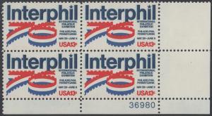 """USA Michel 1202 / Scott 1632 postfrisch PLATEBLOCK ECKRAND unten rechts m/ Platten-# 36980 - Internationale Briefmarkenausstellung """"Interphil"""", Philadelphia"""